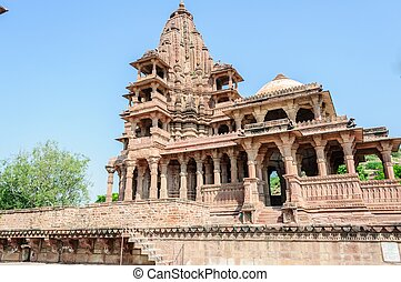 Ancient rock curved temples of Hindu Gods and godess -...