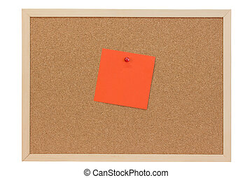 Orange note on a pin board - isolated on white background