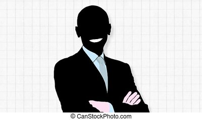 Business Success - Silhouette of a business man over...