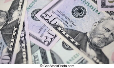 dollar bills are moving. Close-up. FullHD video