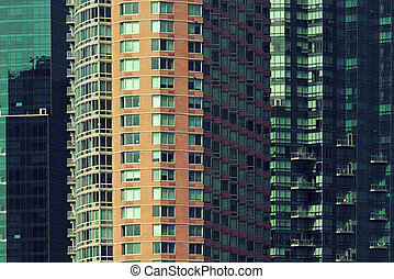Apartment building closeup in Manhattan Downtown.