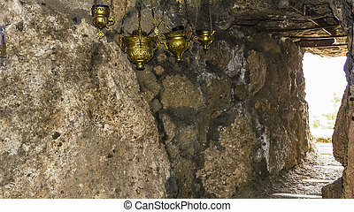 Stone Tunnel with Oil Candles - Oil Candles in an stone...