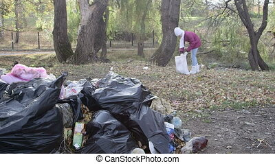 Area residents with garbage bags cleaning park from wastes...