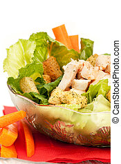 Chicken Caesar Salad - A bowl of chicken Caesar salad...