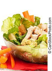 Chicken Caesar Salad - A bowl of chicken Caesar salad...