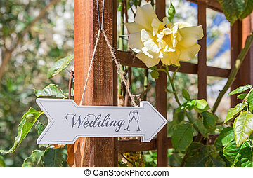 Signboard directions to the wedding. Symbol sign.