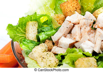 Salad Chicken Detail - A chicken caesar salad detail