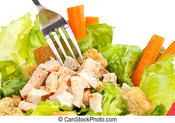 Chicken Salad - Chicken Caesar Salad detail with carrots and...