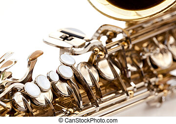Saxaphone Detail - A saxaphone detail isolated on white
