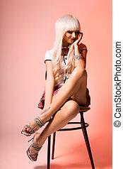 Barbie girl wearing school form