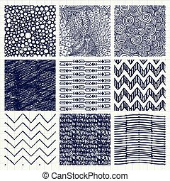 Pen Drawing Seamless Textures - Set of Nine Abstract Pen...