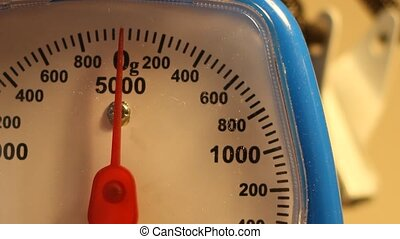 Weighing 50g - Close-up shots of a scale, measuring 50...