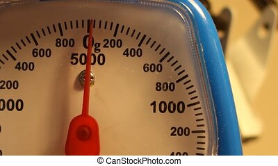 Weighing 200g - Close-up shots of a scale, measuring 200...