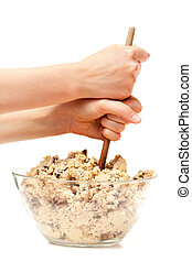 Cookie Dough Mix - mixing a large bowl of chocolate chip...