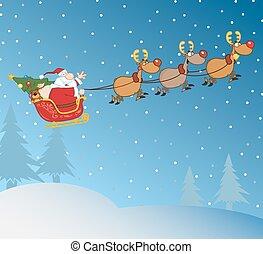 Santa, Claus, dans, noël, nuit,