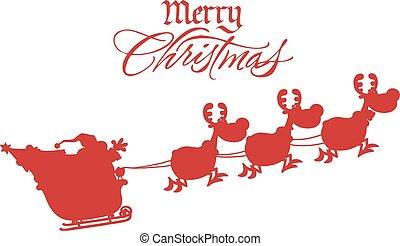 joyeux, noël, salutation, à, Santa,
