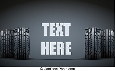 Realistic rubber tires banner. Vector Illustration - Dark...