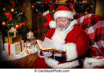 flipping pages - Santa Claus sat down to rest by the...