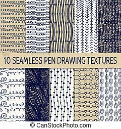 Pen Drawing Seamless Textures - Set of Ten Abstract Pen...