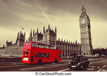 Bus in London - Double-deck red bus on Westminster Bridge...