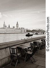 Thames River Waterfront - Chairs at waterfront of Thames...