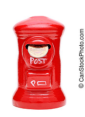 Saving red post box with coin - red post money box with...
