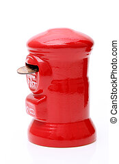 Saving post box with coin - red post money box with Japanese...