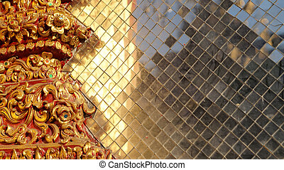 Colourful stained golden glass, Thai temple elements -...