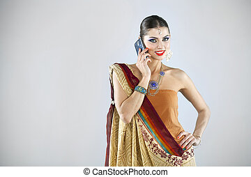 Young traditional Asian Indian woman in indian sari - Young...
