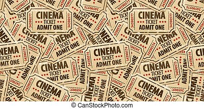 Seamless pattern background of cinema tickets. Eps10 vector...