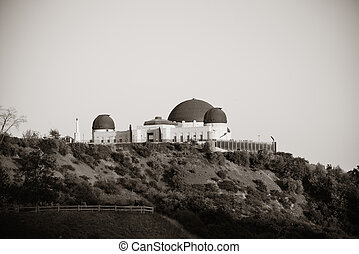 Griffith Observatory over mountain in BW in Los Angeles
