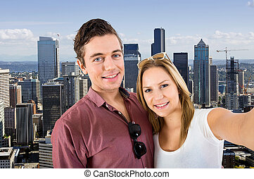 Downtown Seattle Selfie - Young couple taking a selfie with...
