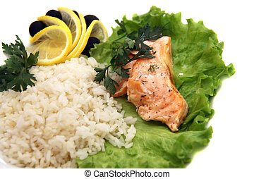 Freshly seared piece of salmon resting on a plate  with brown rice