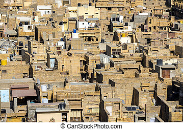 Jaisalmer neighborhood - Aerial view of Jaisalmer city...