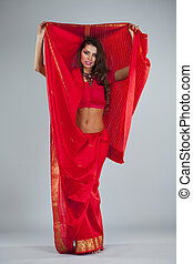 Young traditional Asian Indian woman in indian sari - Full...