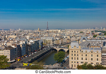 View of Paris from Notre Dame cathedral - View of Paris,...