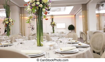 Table decoration with flowers - Festively decorated table...