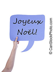 Light Purple Speech Balloon With French Joyeux No - Hand...