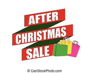 After Christmas sale banner design over a white background,...