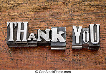 thank you in metal type - thank you - words in vintage metal...