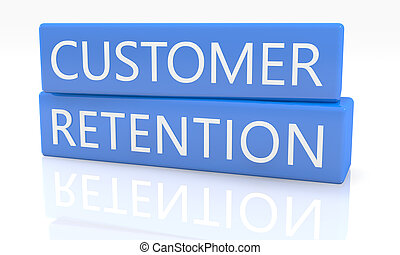 Customer Retention - 3d render blue box with text Customer...