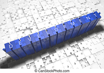 Development - puzzle 3d render illustration with block...