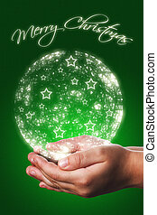 Christmas card with a child hands in green - Christmas card...