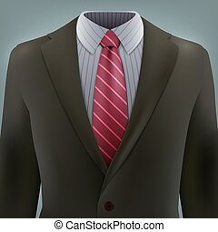 Vector grey business suit with a tie Vector illustration in...