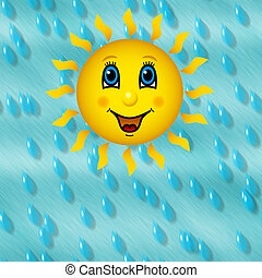 Happy sun on rainy sky