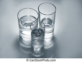 Gass glasses with water - Three different glass glasses with...