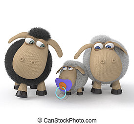Family of lambs - 3d St. Valentine's Day is celebrated by...