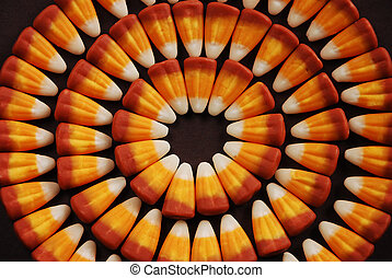 Halloween candy corn - Circles of halloween candy corn