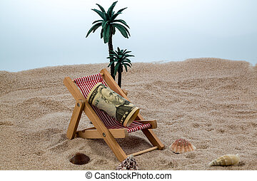 deck chair with piggy bank and dollars - deck chair with...