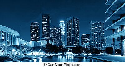 Los Angeles at night - Los Angeles downtown at night with...